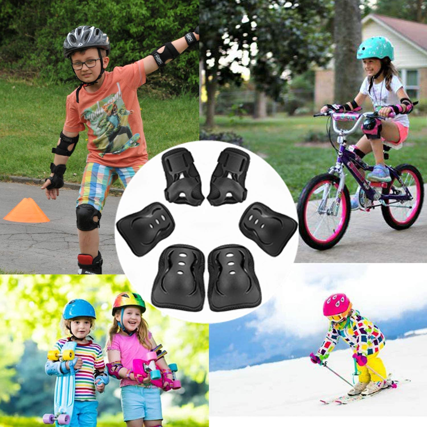 Protective Gear Set for Toddler Knee Pads Elbow Pads Wrist Guards for Skateboarding Inline Rollerblading Roller Skating Cycling Bike BMX Bicycle Scooter 3 in 1(3-8 Years) Nascence Knee Pads for Kids