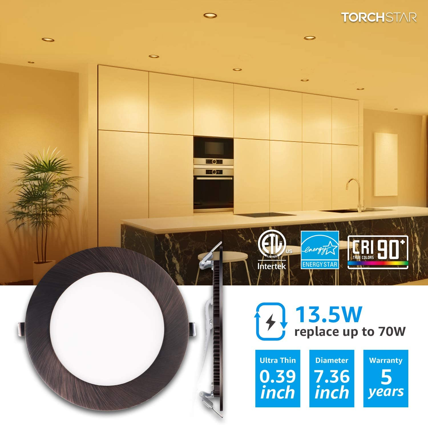 TORCHSTAR Premium 6 Inch Slim Panel Downlight with J-Box Oil Rubbed Bronze 5-Year Warranty 2700K Soft White 850lm Pack of 6 13.5W Dimmable Ultra-Thin LED Recessed Light ETL /& Energy Star