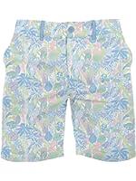 Men's Tropical Hula Print Shorts - X80 Ultra-Soft Elastic Button Short Shorts