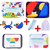 Wooden Shapes Puzzle & Pattern Blocks -Tested by Teachers- develops Focus, Problem-Solving & More - Includes Non-Slip…