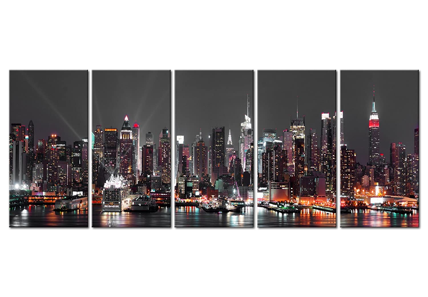 Amazon.de: murando - Bilder New York 225x90 cm - Leinwandbilder ...