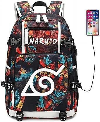 Siawasey - Mochila para el colegio con diseño de anime/cosplay de Naruto (clan Uzumaki, clan Uchiha). Mochila luminosa con puerto de carga USB