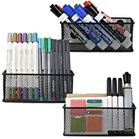 Minima Magnetic Organiser Pencil Holder Set of 3 - Mesh Storage Baskets with Extra Strong Magnets - Perfect Marker and Pen Organizer Set Holds Securely Your Whiteboard and Locker Accessories