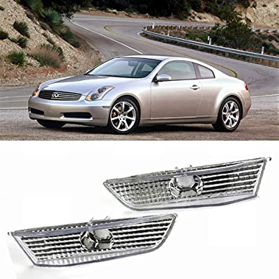 Signal Side Marker Lights Clear Lens lamps Replacements for 03-07 Infiniti G35 Coupe, 2 Pcs Chrome Housing: Automotive