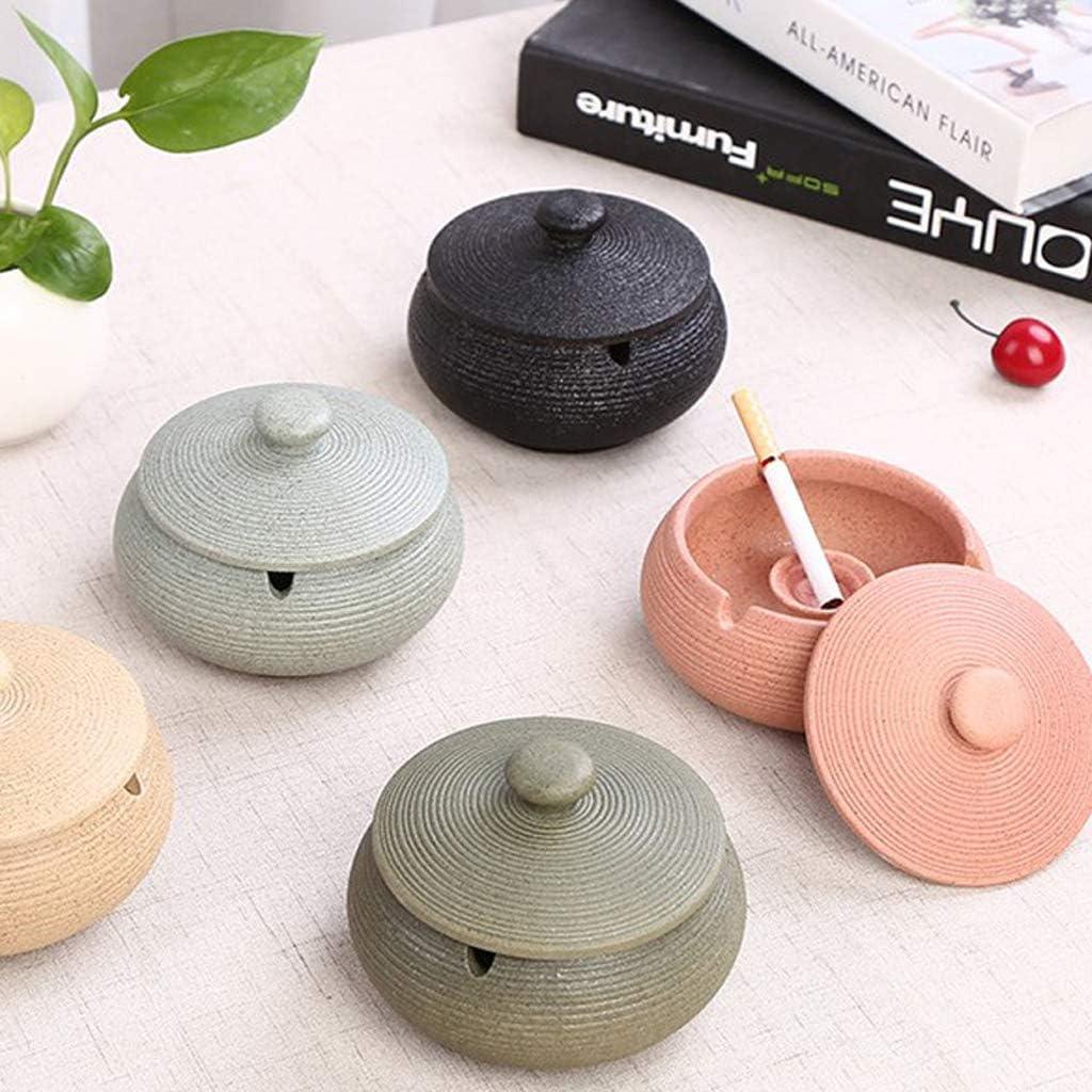 Amuzocity Portacenere per Sigarette Posacenere in Ceramica 3 Pezzi con Coperchio per Uso Interno O Esterno