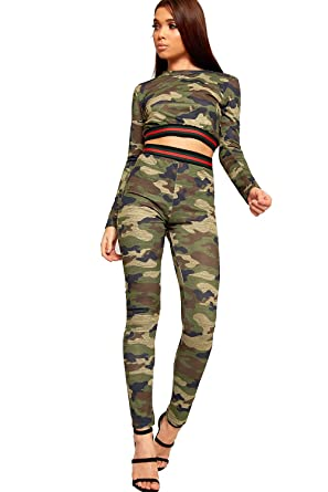 89d38418f8ece WearAll Women's Camouflage Long Sleeve Stripe Crop Top Leggings Ladies  Loungewear Set 8-14: Amazon.co.uk: Clothing