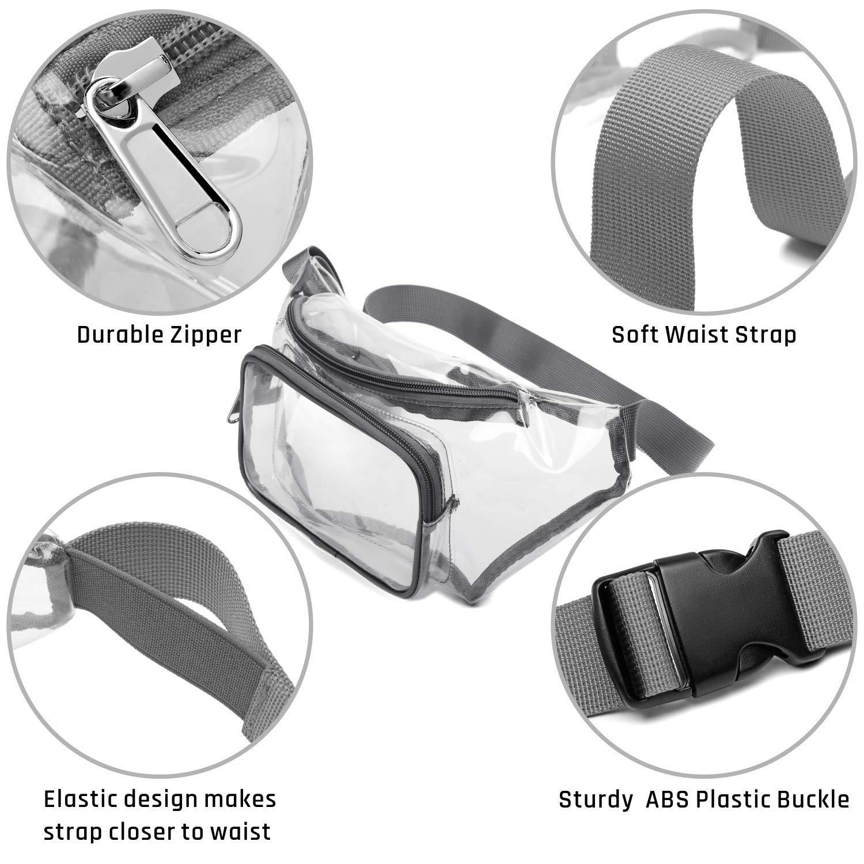 SPEEDEVE Bolsa de Cintura Transparente Resistente al Agua Gris