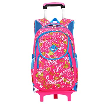 BOZEVON Infantil Niños Niña Desmontable Trolley Mochila - Mochilas Escolares Trolley Portátil Bolso Mochila Ruedas, Azul-Rose Rojo: Amazon.es: Equipaje