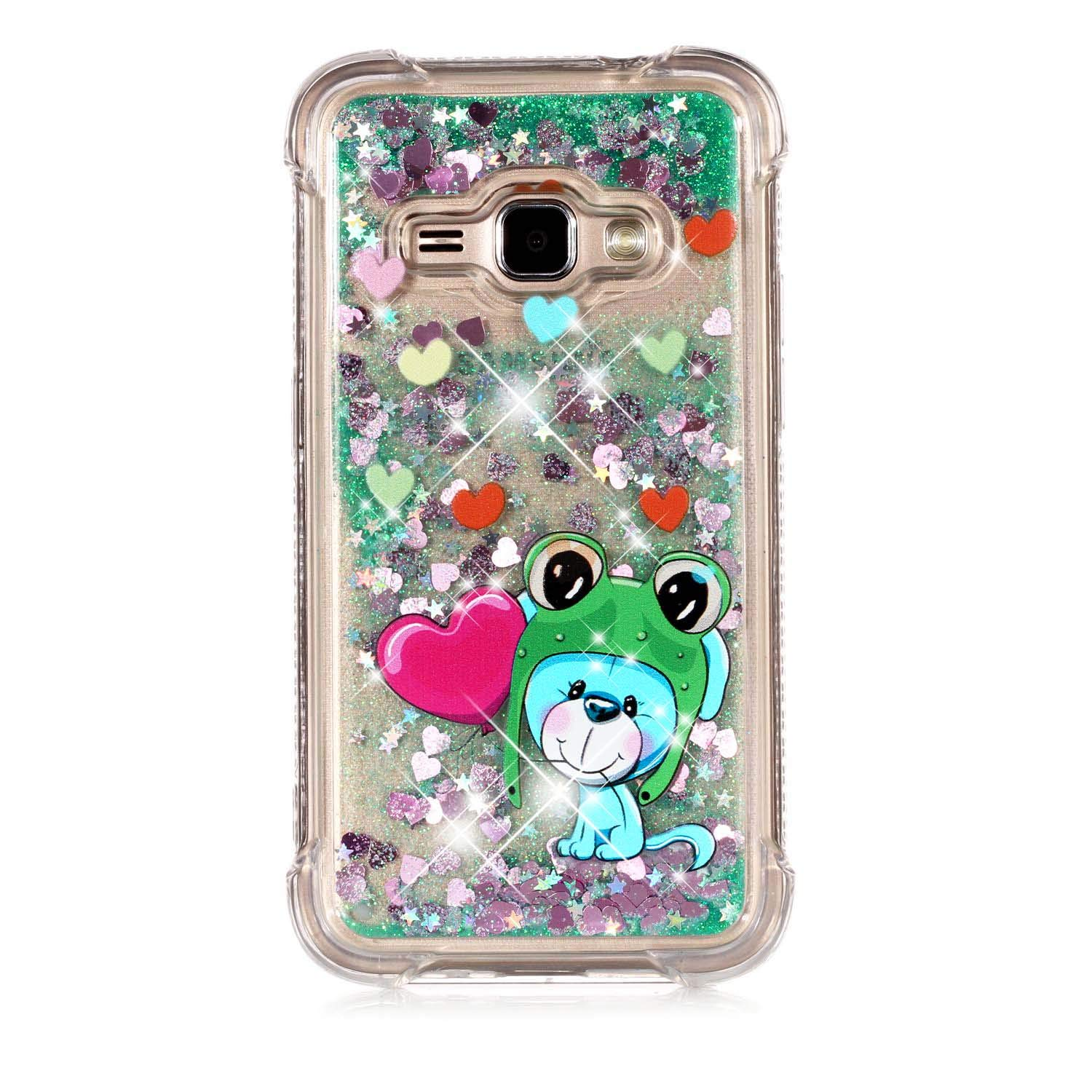 Galaxy J1 2016 Case, Eyilin 3D Creative Shockproof Transparent Glitter Bling Sparkle Dynamic Liquid Quicksand Floating Flowing Silicone Soft TPU Gel Protective Case Cover works Samsung Galaxy J1 2016 /Galaxy Amp 2 /Galaxy Express 3
