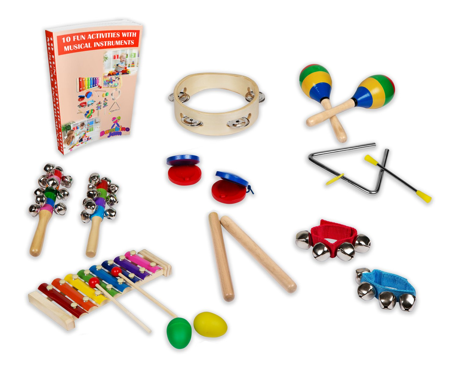 Musical Instruments Set for Toddler & Preschooler 15 Pcs Wooden Montessori Educational Learning Toys for Young Children Percussion Rhythm Band Gift Set with Xylophone, Tambourine & Free Carry Bag