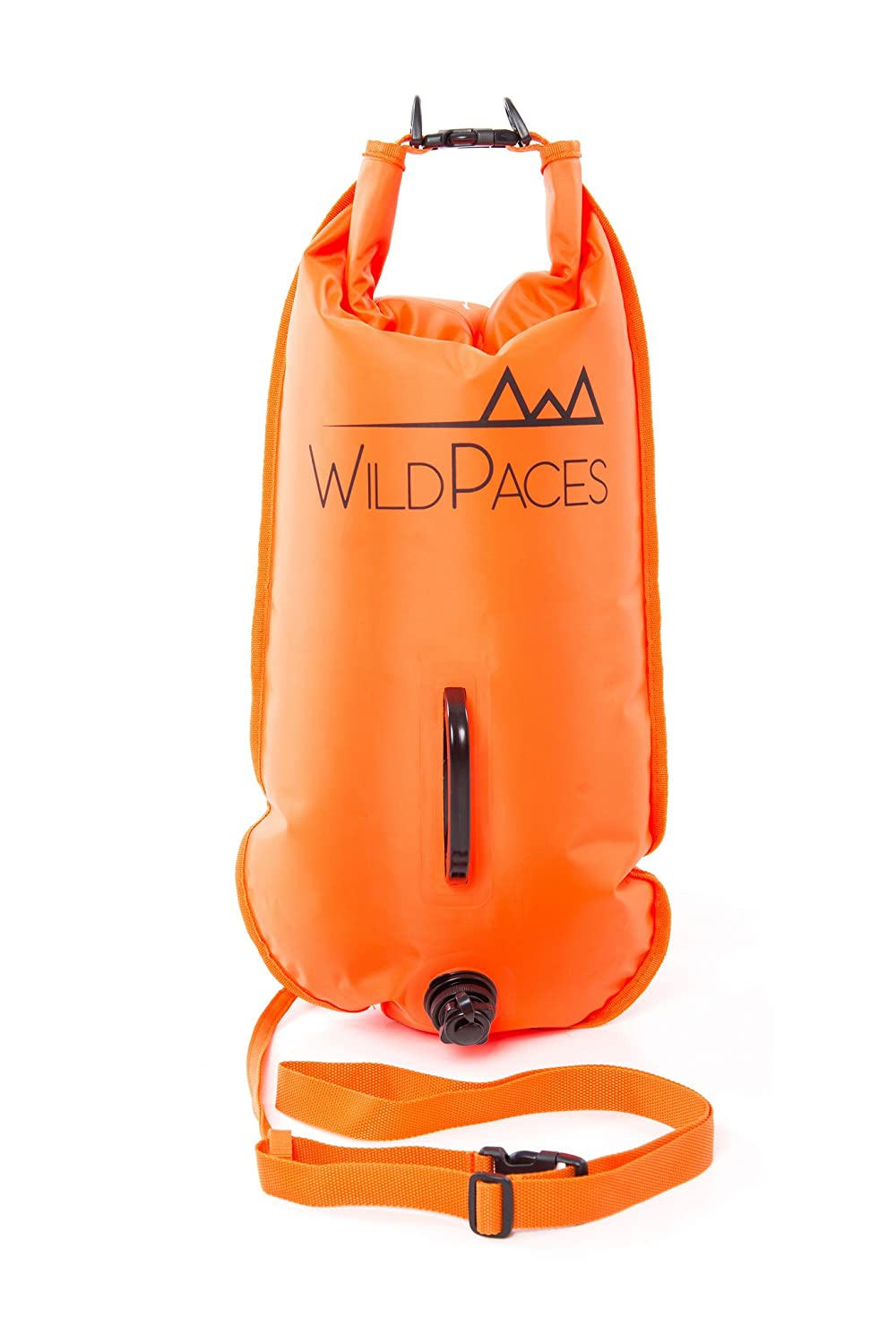 3237e8f47e WildPaces 28L Swim Buoy Safety Tow Float High Visibility Inflatable Dry Bag  Ideal for Wild Swimming Open Water SwimRun Cross Trail Training Kayaking  Fishing ...