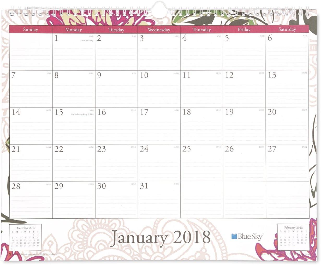 "Blue Sky 2018 Wall Calendar, Twin-Wire Binding, 15"" x 12"", Dahlia"
