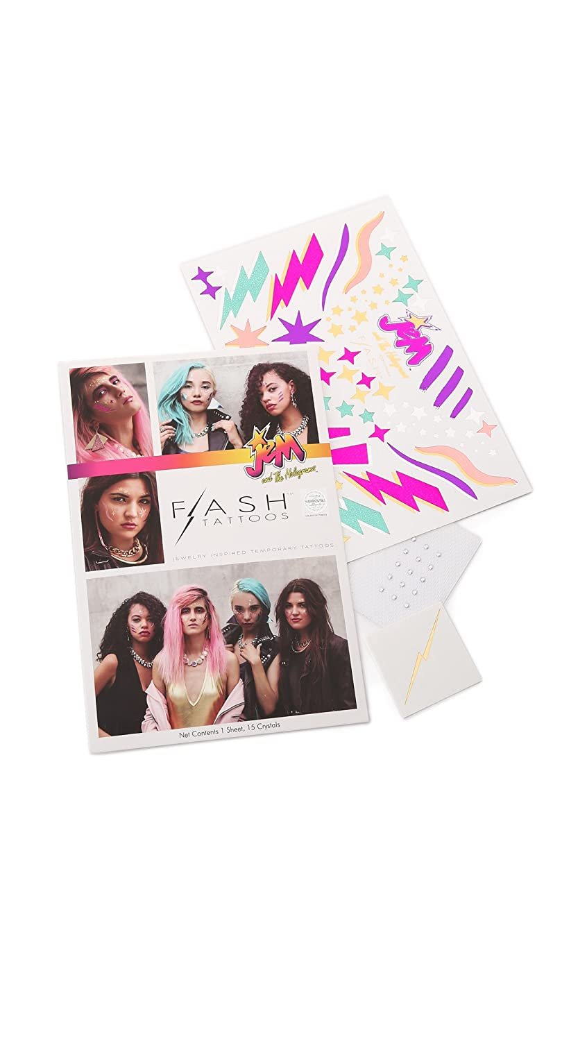 Jem and the Holograms Women's Authentic Flash Tattoos Set with Swarovski Crystals, Multi Color, premium waterproof metallic tattoos