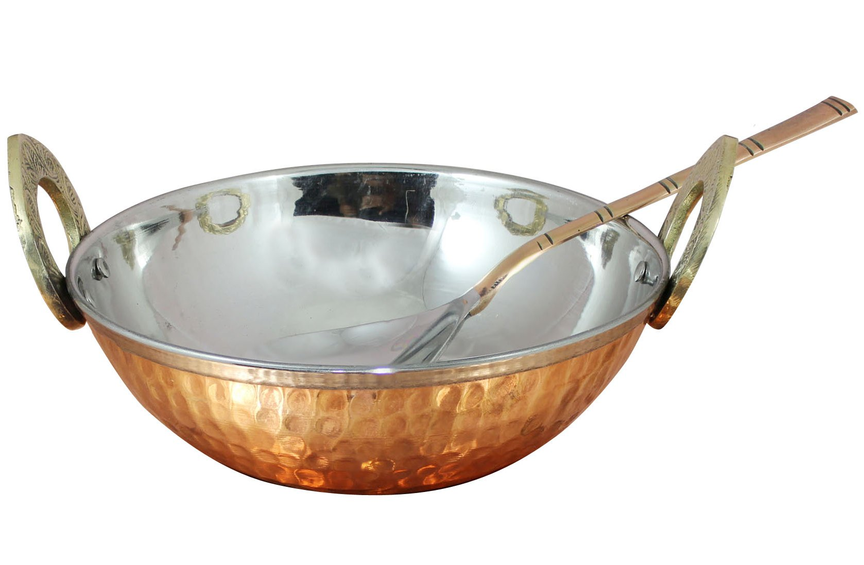 Copper Stainless Steel 34 OZ Serving Bowl with Spoon for Ice Cream, Noodles, Salad, Cereal, Rice, Pasta, Fruit, Dessert Handmade Hammered Style Heat Insulated Double Walled Multipurpose Bowl, 7.1 Inch