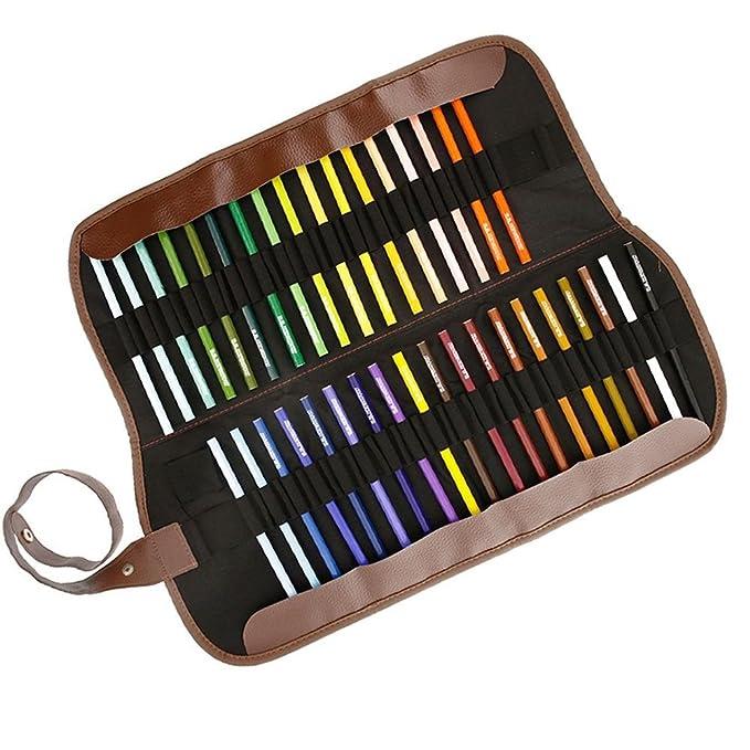 Portatodo enrollable de piel de lona, organizador de lápices de ...