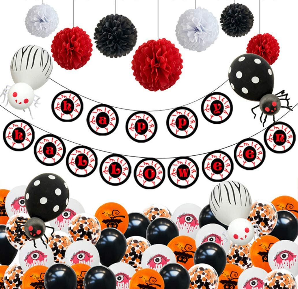 Happy Halloween Banner Hanging Paper Garland Pom Poms Flowers Party Supplies Halloween Party Balloons Decorations Kit 60Pcs