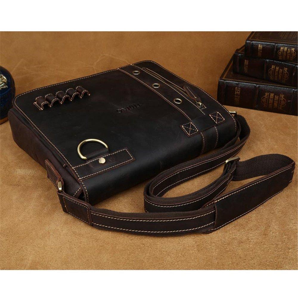 Tiding Mens Retro Genuine Cowhide Crazy Horse Leather Vintage Briefcase 1006