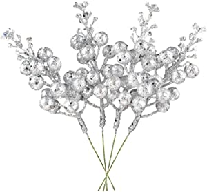 DearHouse 14 Pack Christmas Glitter Berries Stems, 7.8Inch Silver Artificial Christmas Picks for Christmas Tree Ornaments, DIY Xmas Wreath, Crafts, Holiday and Home Decor
