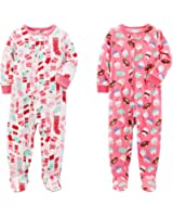 Carter's Baby Toddler Girl's 2 Pack Fleece Footed Pajama Sleep and Play Set