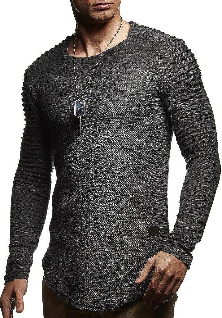 Leif Nelson Sudadera de Manga Larga Cuello Redondo suéter de los Hombres LN-6326