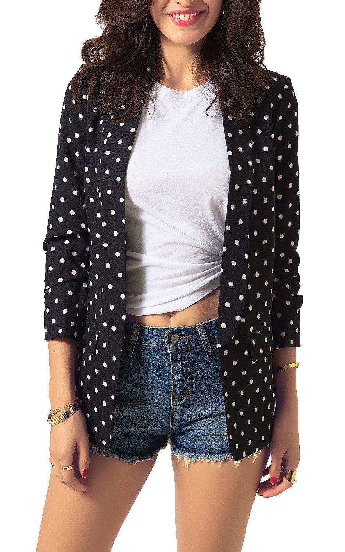 Zevrez Women's Blazer Work Jacket 3/4 Ruched Sleeve Open Front Casual Office Tunic(Black White,M)