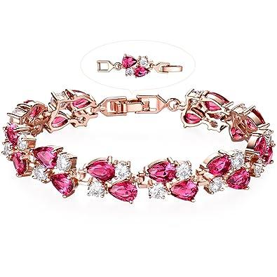 62112a60ade942 Amazon.com: GULICX Rose Gold Tone Women Tennis Bracelet Sparkle Double Drop Cubic  Zirconia Extended Chain: Jewelry