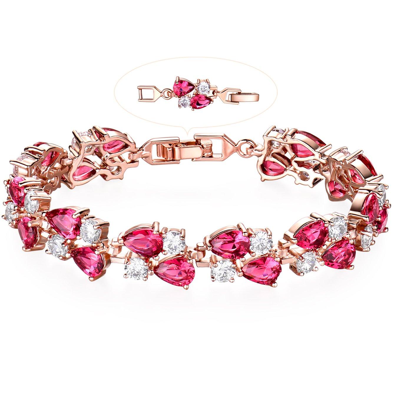 GULICX Rose Gold Tone Women Tennis Bracelet Sparkle Double Drop Cubic Zirconia Extended chain