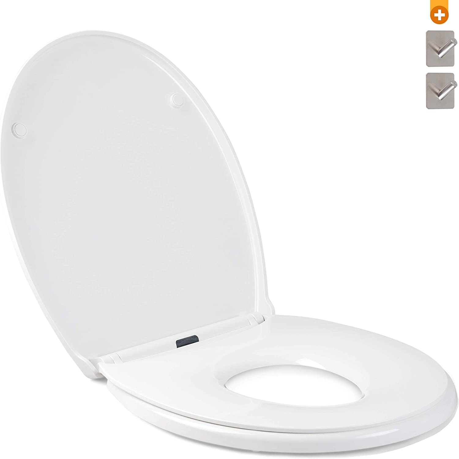 Free: 2X Stainless Steel Adhesive Hooks Thermoset Toilet seat//lid with Soft Close Toilet lid Oval Shape