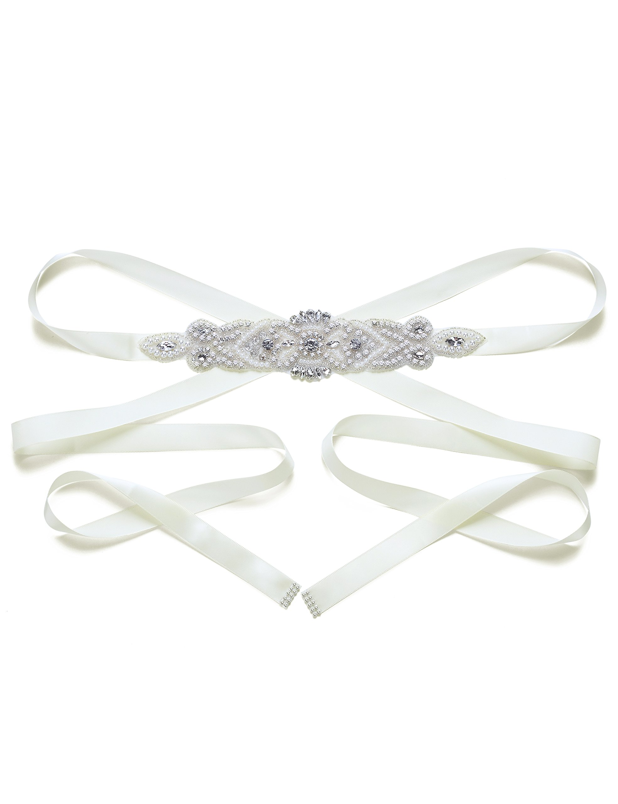 Bride Rhinestone Wedding Belt Multi - color optional diamond wedding belt (Off-white Color)