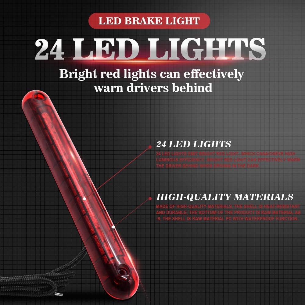 Waterproof Third Brake Light Stop Tail Light 12V Car General High Position Brake Light Red Light 24LED