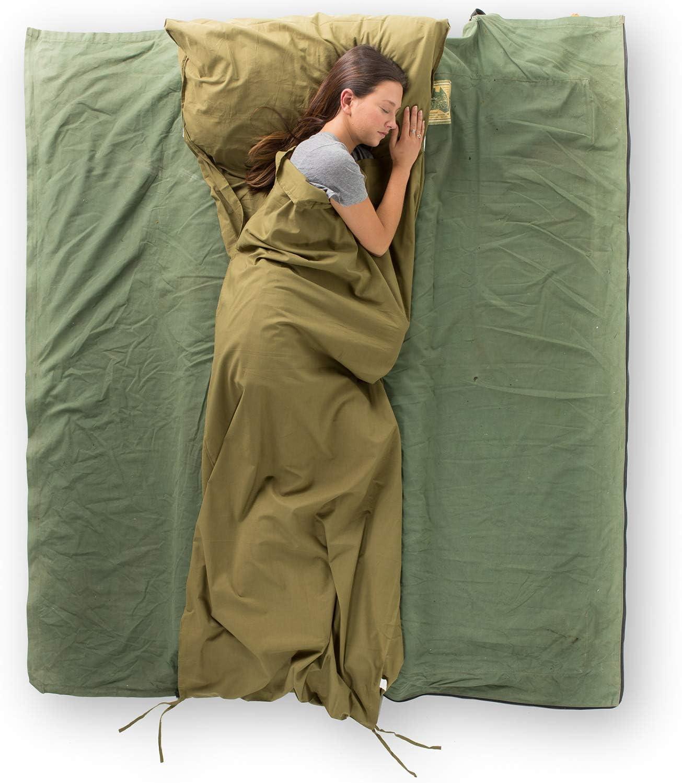 Backpacking Sleeping Bag Liner Cottonpod Sleeping Bag Liner /& Travel Sheet Meadow Best Travel Sleeping Bag Camping Sleeping Bag Hiking Travel Sheet