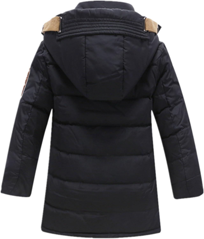 Crazycatz@ School Boy Parka Down Coat Hooded Down Coat 140 Age 7-8 Years, Black