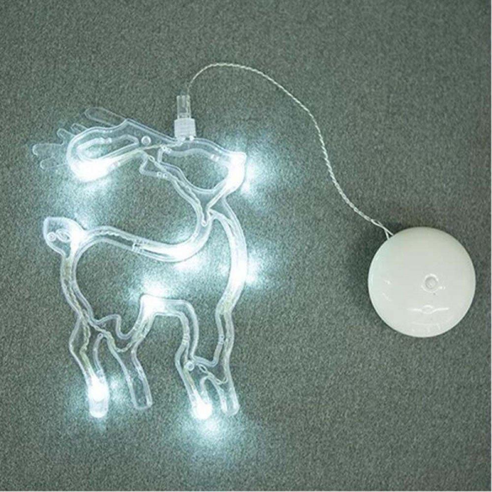 MyEasyShopping Deer LED Christmas Decorative Hanging Light Window Sucker Lamp White by MyEasyShopping (Image #1)