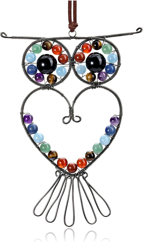 Jovivi 7 Chakra Gemstone Reiki Healing Crystal Owl Hanging Ornament Gemstone Heart Stone Hanger Window Wall Decor for Car, Home Office Yoga Meditation Protection and Blessing