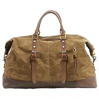 Canvas Weekender, P.KU.VDSL Leder Reisegepäck Reisetasche Duffle Bag Handgepäck Tasche Leather Wasserdicht für Herren Damen
