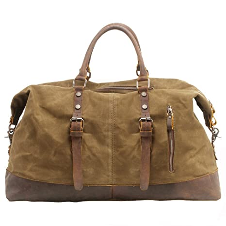 Bolsas de viaje, P.KU.VDSL Bolsa de fin de semana de lona, Cuero para Hombre de Bolso ,repelente de agua Duffles de viaje, bolsa de lona Overnight ...