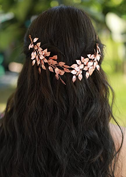 Amazon Com Missgrace Wedding Rose Gold Leaf Hair Vine For Bridal