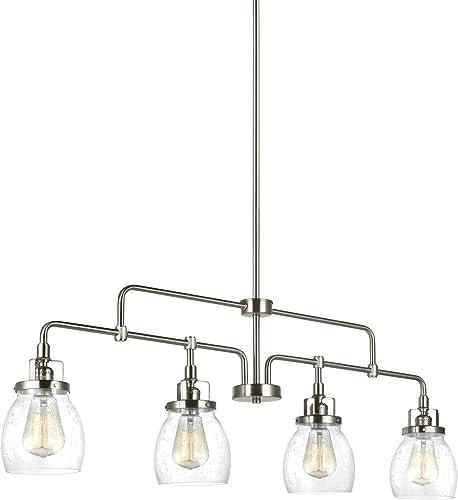 Sea Gull Lighting 6614504-962 Belton Four-Light Island Pendant Hanging Modern Light Fixture, Brushed Nickel Finish