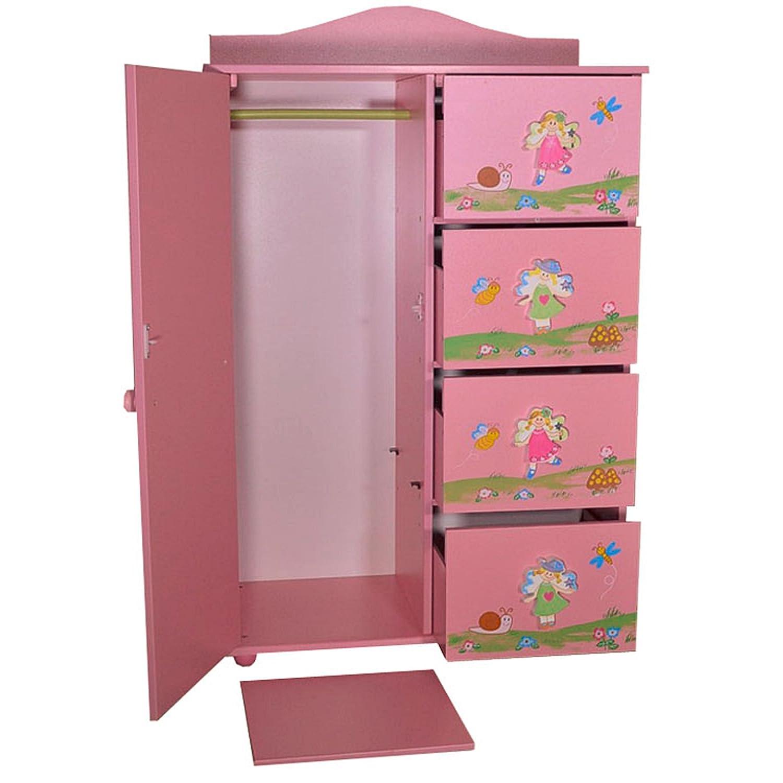 Antyki24 Children Cabinet Cupboard Storage Drawers Princess Girls Bedroom Fairy Flowers