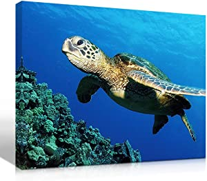 Purple Verbena Art Submarine Turtle Under The Sea Pictures Photo Prints on Canvas Wall Paintings HD Giclee Walls Artwork for Home Office Decor,Stretched and Framed 12x16 Inch