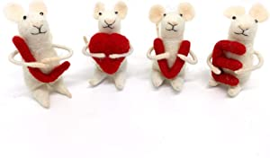 Wool Felt Mouse with Love famliy Handmade Ornament Christmas Handing Love mice 4 Sets Valentine 's Day for Decor