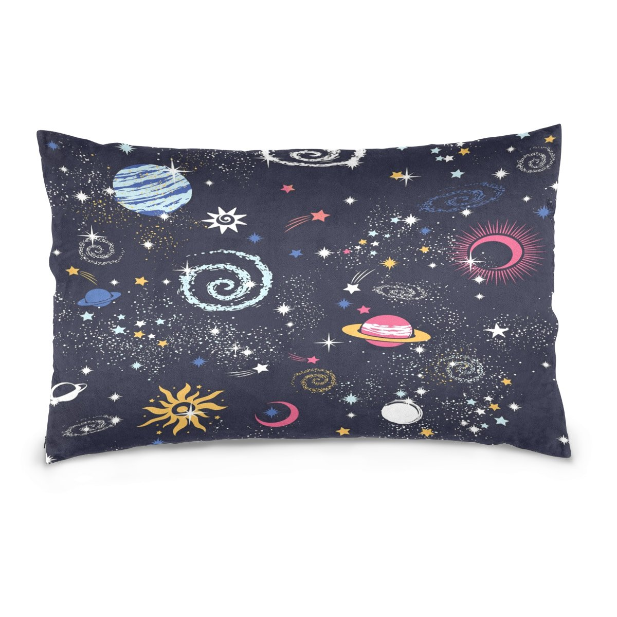 ALAZA Outer Space Galaxy Solar System Constellation Print Cotton Lint Pillow Case,Double-sided Printing Home Decor Pillowcase Size 16''x24'',for Bedroom Women Girl Boy