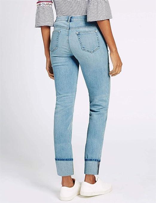 EX M&S WomensLadies Flower Detail Mid Rise Slim Leg Jeans RRP £29.50