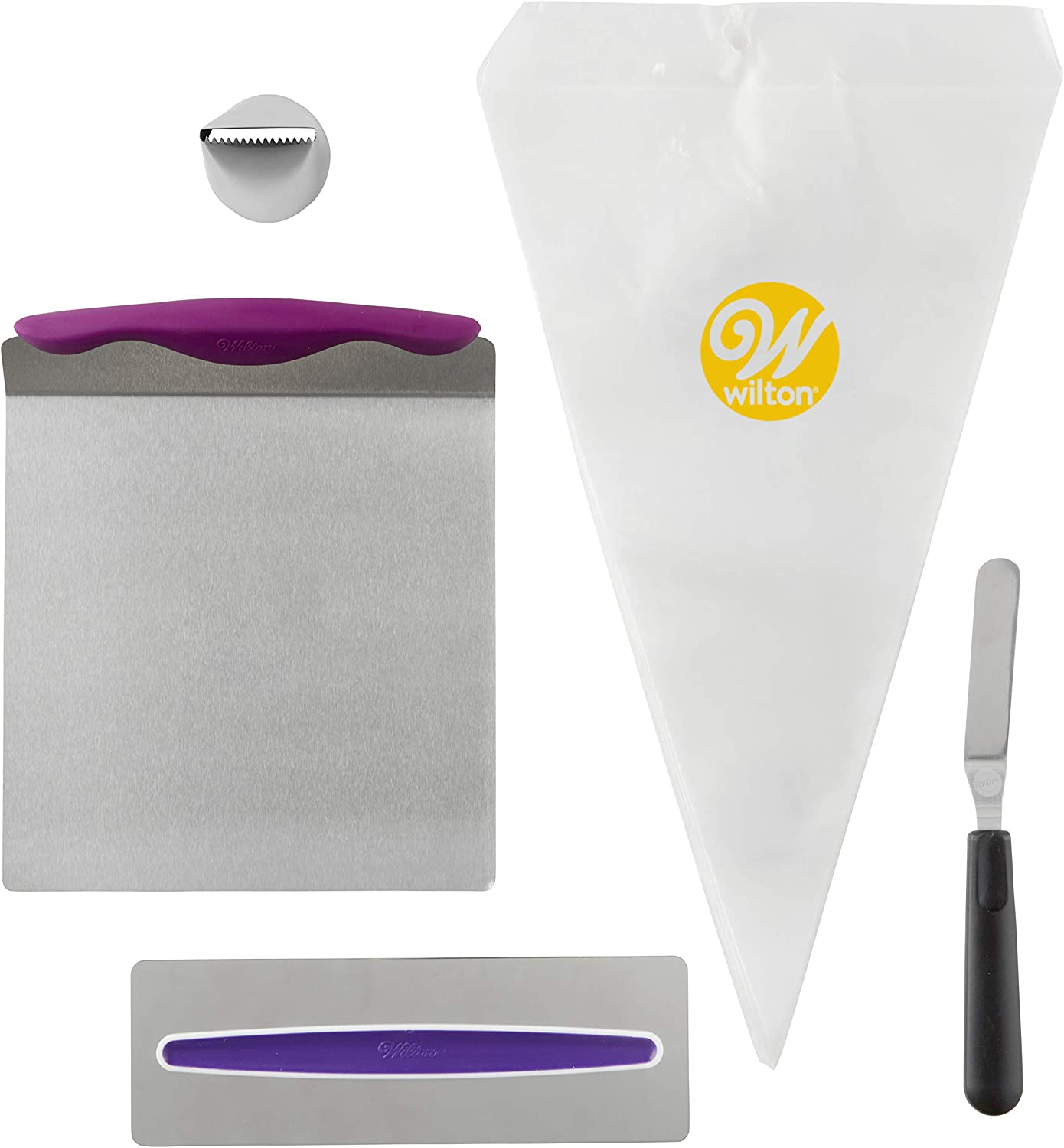 Amazon Com Wilton Cake Decorating Kit For Beginners Lifter Spatula Icing Tip Smoother And Disposable Decorating Bags Kitchen Dining