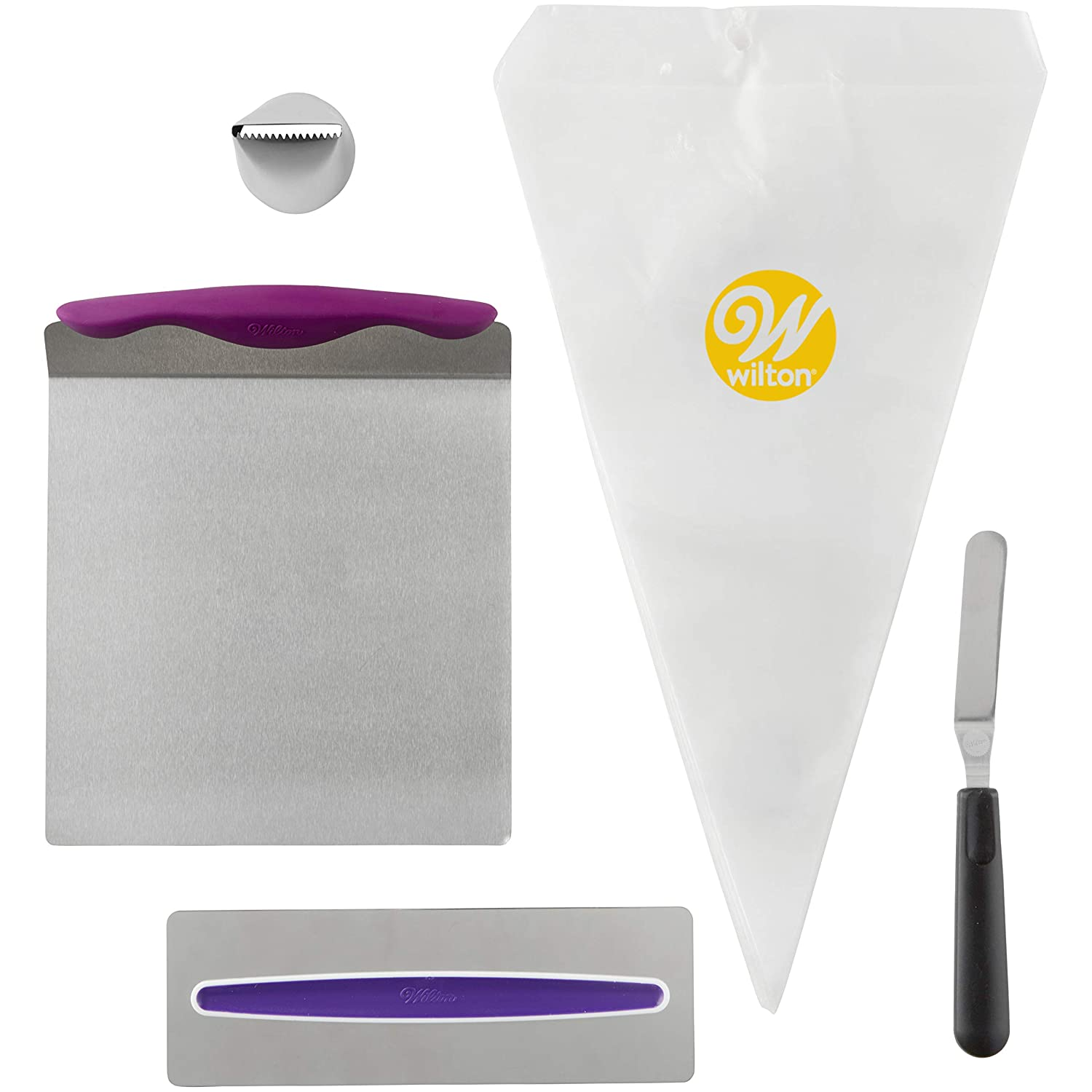 Wilton Cake Decorating Kit for Beginners - Lifter, Spatula, Icing Tip/Smoother, and Disposable Decorating Bags 2104-3641