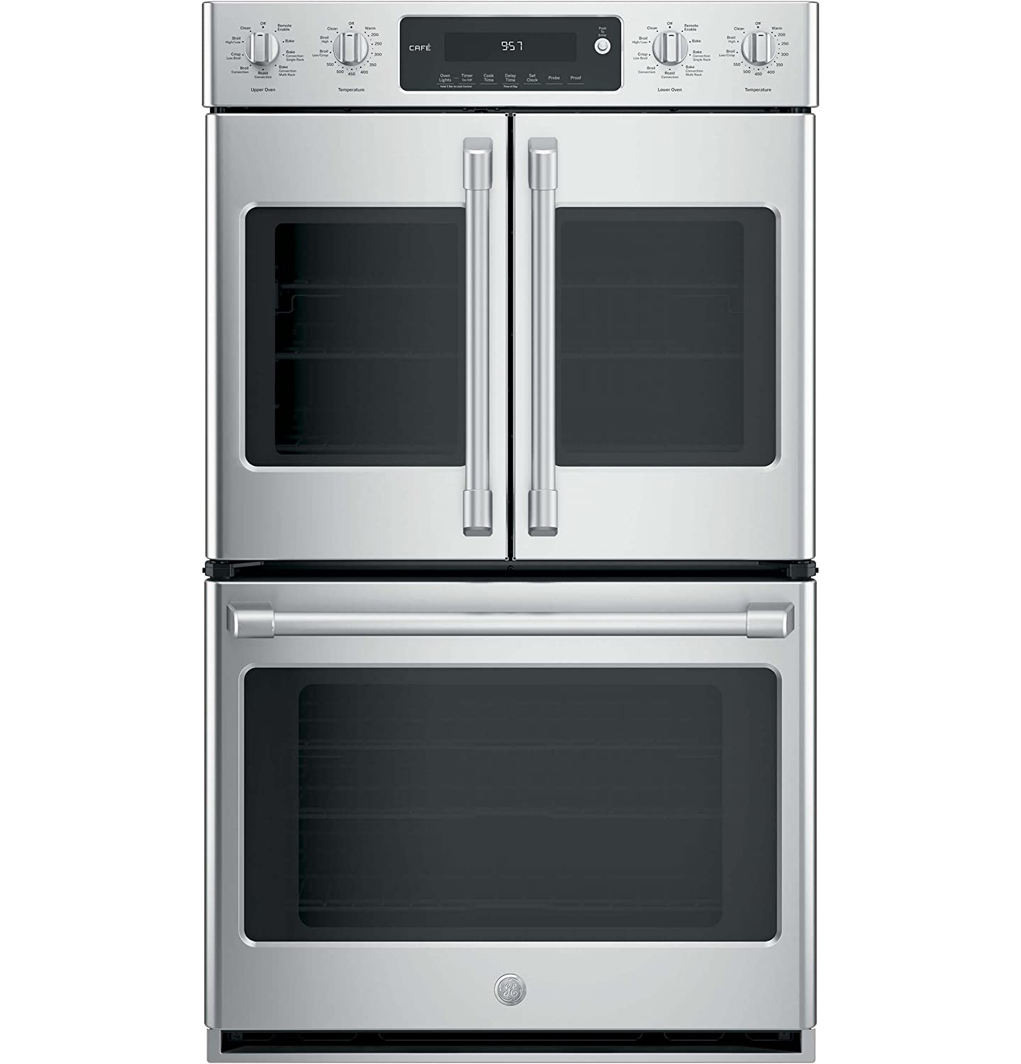 """GE Cafe Series 30"""" Stainless Steel Built-In Double Convection Wall Oven"""