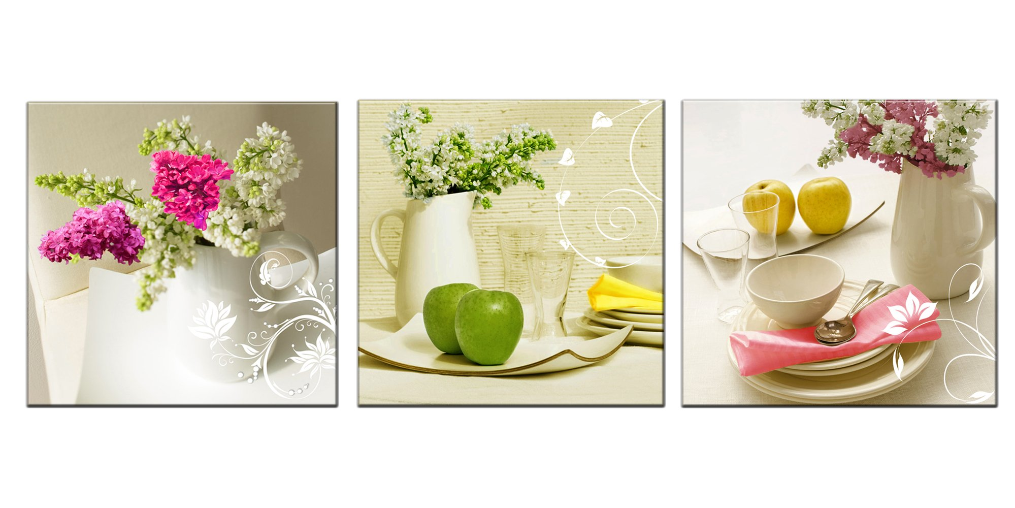 New Framed White Floral In Dining Room Canvas Wall Art Prints ...