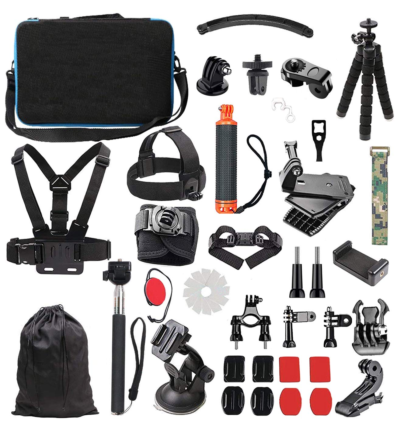Lowpter Accessory Kit for GoPro Hero 7 6 5 4 3/ 3 2 1 Hero Session 5 Black AKASO EK7000 Apeman SJ4000 5000 6000 DBPOWER AKASO VicTsing Rollei Lightdow ,DJI OSMO and Sony Sports DV and More. by Lowpter