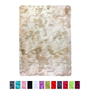 PAGISOFE Moderns Abstract Area Rugs Mats Multi Colors Decor Rug for Bedroom Living Room Nursery Floor Fluffy Shag Rug Plush Fuzzy Shaggy Rugs (Khaki/Cream/Ivory), Accent Fur Rug Carpet 4 by 5 Ft