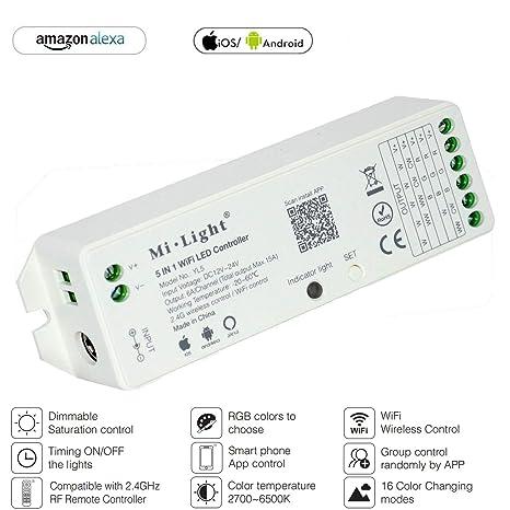 new style a7370 dced9 Mi Light RGBW RGBWW W/CW RGBCCT Controller Compatible with Amazon Alexa  Voice Control, 2.4G Wireless 15A Led Strip Light WiFi APP Bridge Wireless  ...